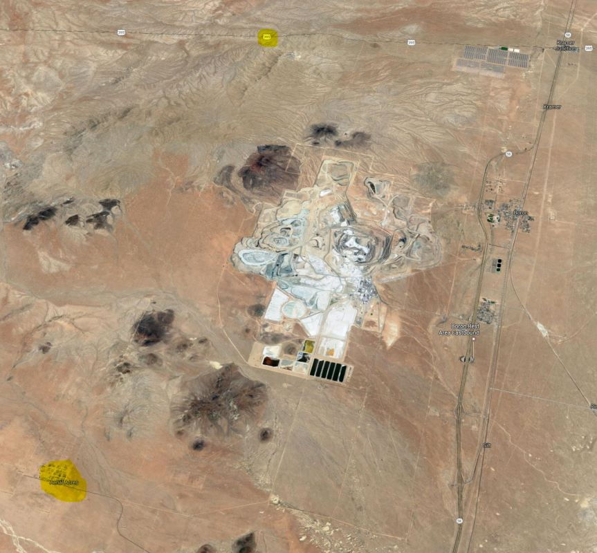 Satellite view of Boron area and Borax Mines